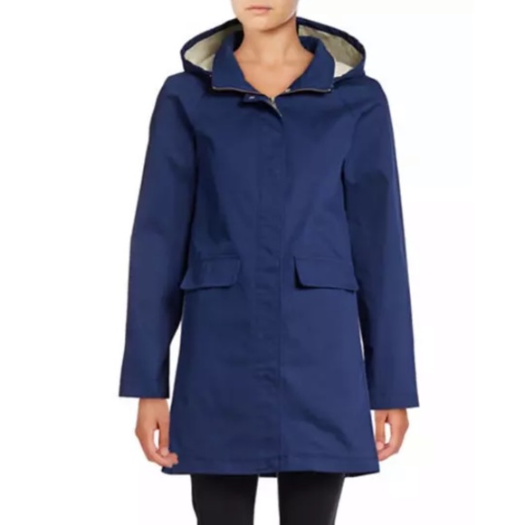 Kate Spade Coat Navy Blue Hood Zipper size Small